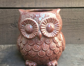 Red Rock Ceramic Owl Utensil Holder / Crock / Planter - Large - Brick Red with Beige Cream Accents
