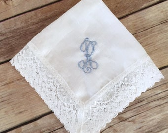 Monogrammed Cathedral Lace Handkerchief