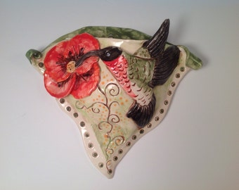 Wall vase/wall pocket/hummingbird art/hummingbirds/vase