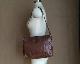 vintage 1970's brown leather handbag purse shoulder bag