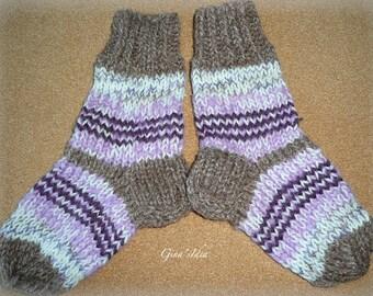 Hand knitted SOCKS Kids Child Girl Boy  size 3-5 years Leg warmers Slippers Warm