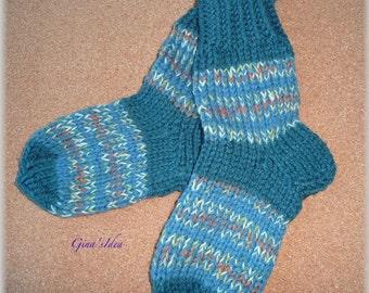 Hand knitted SOCKS KIDS Children Boy Girl Unisex size 2-4 years old Leg Warmers Slippers