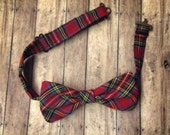 Plaid Bow Tie red adjustable bow tie