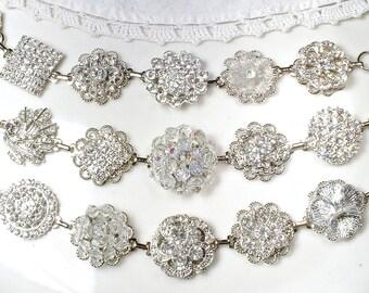 OOAK Old Hollywood Glam Bridesmaid Bracelet Set 3 4 5 6 Clear Rhinestone & Crystal Vintage Wedding Silver Earring Bracelets Bridesmaid Gifts