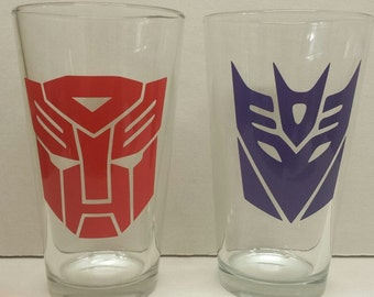 Transformers Autobot and Decepticon Pint Glasses