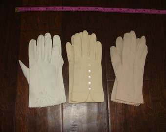 Mid Century Wrist Length Gloves Ivory Tan Taupe Vintage Housewife Church Easter Pinup Viva Rockabilly Beading Nylon