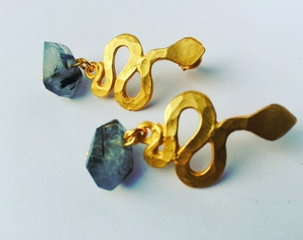 Quartz tourmaline bronze snake earrings