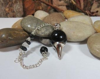 Black Agate Pendulum, Gemstone Pendulum, Dowsing Pendulum, Divination, Black Ball Pendulum, Reiki Healing, Witchcraft, Pendulum Reading