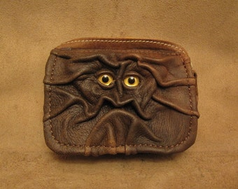 Grichels leather belt pouch - distressed brown with custom glittery gold eyes