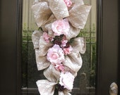 Burlap and Lace Valentines Day Swag, Cottage Chic Valentines Wreath, Door Wreath, Romantic Valentine Swag,