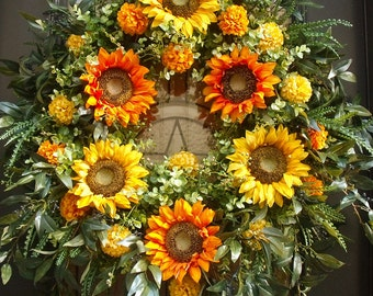 Fall Sunflower Wreath, Fall Wreath, Floral Door Wreath, Etsy Fall Wreaths, XL Wreaths, Autumn Wreaths