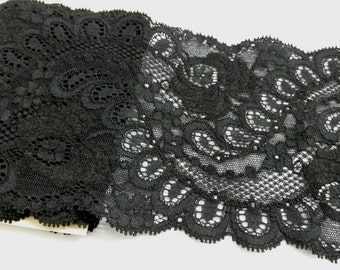 4.5' wide, 1 yd black Stretch lace