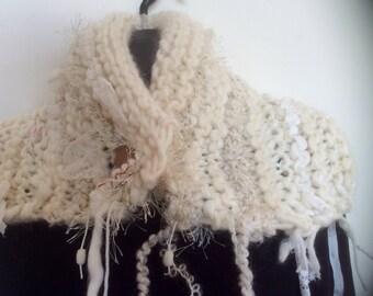 HAND KNIT, KNITTED collar, Knitted wrap,  Neckwarmer. Natural yarns, boho collar