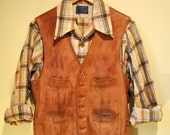 Vintage Mens Distressed Leather Button up Four Pocket Vest size Small 38 Chest