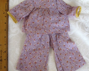 Vintage Outfit for Baby Doll Circa 1930's Purple Floral Girl, Clothes, Cotton Clothing,Fabric,Antique Toys Accessories