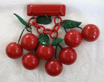Vintage Bakelite 8  Cherries Brooch Cherry Red Bakelite Fruit Pin