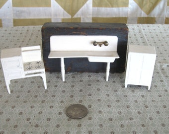 Vintage Tootsietoy Dollhouse Kitchen Metal White Sink, Stove, Refrigerator Ice Box 1930s
