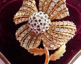 Ciner domed pave rhinestone flower brooch pin | signed vintage | Swarovski style