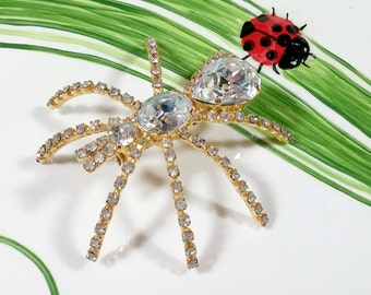 Spider Brooch Rhinestone Clear Bright Gold Metal Large Vintage Spider Pin Arachnid Vintage Costume Jewelry Brooch Sparkling Very Cool Piece
