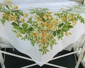 Vintage Floral Tablecloth, cotton, yellow green, california handprint, rectangle, rectangular, 82 X 60