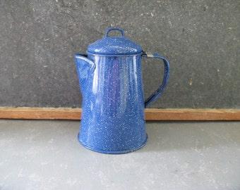 Vintage Enamel Coffee Pot, spatter, blue, camping, glamping
