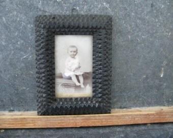 Vintage Tramp Art Frame, Wood, Saw tooth, Handmade, small