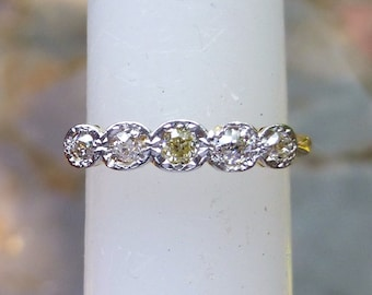 Antique 18KT Yellow Gold And Platinum Diamond Band Free Shipping