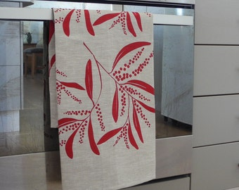 Linen Tea Towel Screen Printed Linen Teatowel Red&Natural Australian Wattle