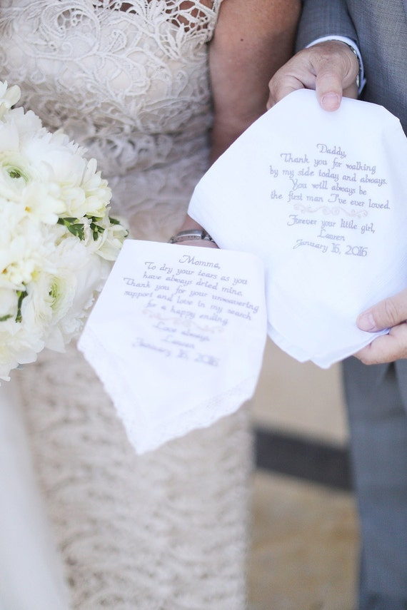 mother and father of the bride handkerchief