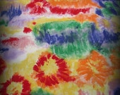 Bold Print Fabric, Paint Print Fabric, One Yard 7 Inches, Impressionism Fabric, Orange and Yellow, Green and Blue, Loud Print Fabric, Tie Dy