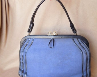 END of SUMMER SALE Vintage 60's Blue Handbag, Canvas Fabric with Black Trim, Structured, Top Handle, 50's, Rockabilly Style