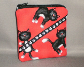 Coin Purse - Gift Card Holder - Card Case -Small Padded Zippered Pouch - Mini Wallet - Cats