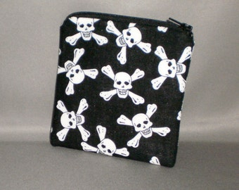 Coin Purse - Mini Wallet - Card Case - Small Padded Zippered Pouch - Skulls and Crossbones - Black and White