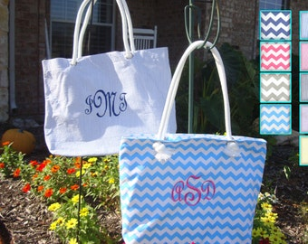 Bridesmaid Tote, Bridesmaid Gift, **SALE** Beach Bag Canvas Chevron and Seersucker Colors