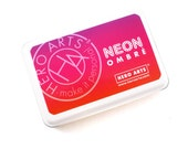 NEON OMBRE red to purple Ink Pad - neon ombre ink for scrapbooking & paper crafts - acid free, waterproof, good for most papers