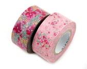 MASTE vintage floral masking tape set - set of 2 tapes with dark pink cottage flowers - Japanese washi tape