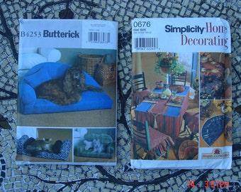 Vintage Butterick and Simplicity Patterns  - Home Decor/Pet Beds/Pillows