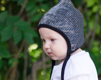 Pixie  hat, baby girl hat, hearing aid hat, Emmifaye hat, hat with ties, toddler hat, fall hat, baby gift, velour hat, striped grey hat
