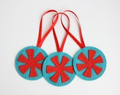 Snowflake Ornaments, Set of three, Christmas Ornaments, Handmade Felt Ornaments, Red and Teal, ready to ship