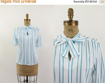 ON SALE striped blouse - 70s bow tie blouse