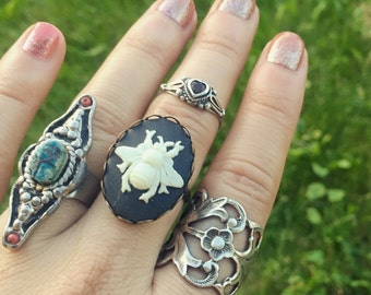 Cameo Bee Ring / Adjustable Beekeepers Lover Gift Steampunk Costume Cosplay / Boho Bohemian Victorian Vintage Style/ Bumble Bee Bug Insect