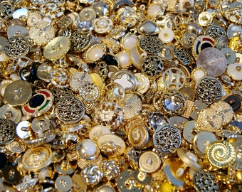 50 Gold Button Mix, Shank Back,  Assorted sizes, Gold Black White Crafting Jewelry Collect (880)