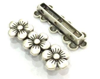 2 Pcs (26x10mm) Antique Silver Plated Metal Separator Findings  G4639
