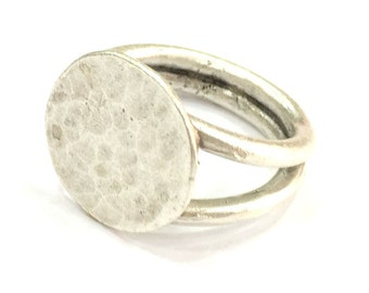 Adjustable Ring Blank, (15mm blank ) Antique Silver Plated Brass G4977