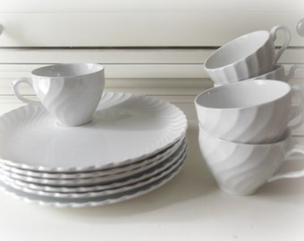 Ironstone Cups and Plates Snack Set Rustic Wedding Reception Decor White China Burleigh Ware