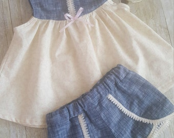 Girl's summer clothes 2T/Allie Oop top/Coachella shorts/babyclothes/summerwear/Ready to ship