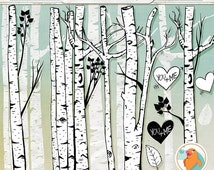 SALE - Birch Tree Clip Art, Winter Forest, Tree Branch ClipArt Outlines, Branch Silhouettes + Photoshop Brush, Natural Woodland Tree Images