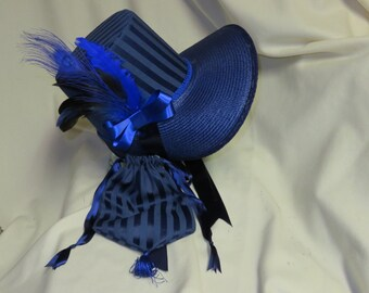 Navy Blue Stovepipe Bonnet and Reticule- Regency, Georgian, Jane Austen Era Bonnet and Purse