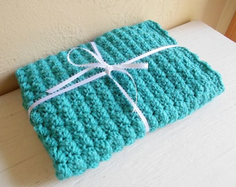 Teal Hand Crochet Doll And Baby Blanket