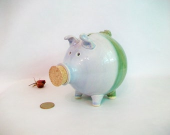 Piggy Bank - Blue and Green - Lovely, Fat  Piggy  - Handmade on the Potters Wheel - Ready to Ship - Unique Gift